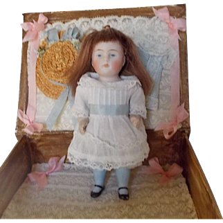 Antique All Bisque Simon Halbig Doll with Box and Accessories