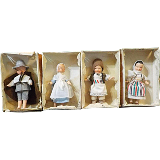 """Hertwig Boy and Girl 4"""" Dolls in Original Boxes."""