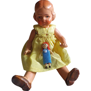 """Antique All-Bisque 5 1/4"""" Hertwig Doll with Her Own Doll and Quilt"""
