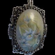 Vintage Floral Painted Porcelain Silver Tone Pendant