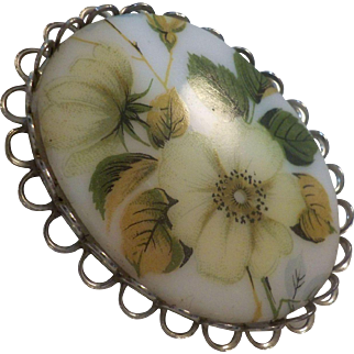 Vintage Painted Porcelain Floral Brooch