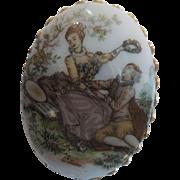 Vintage Porcelain Brooch - Courting Couple Renaissance Scene