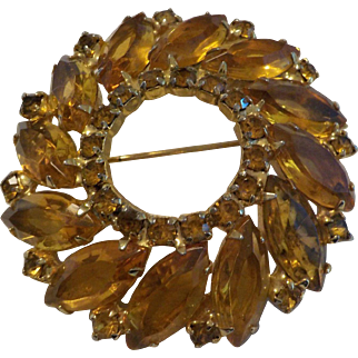Vintage Amber Colored Rhinestone Pin Brooch