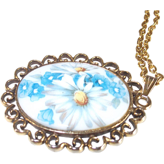 "Vintage Porcelain Cabochon Necklace Painted Floral 28"" chain"