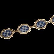 """Flo Blue Link Bracelet Melbourne by Grindley Link Bracelet 7.5"""" long"""