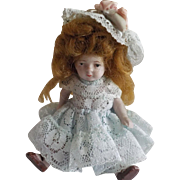 "Antique All Bisque 4"" German Doll"