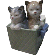 "Nao By Lladro ""Purr-fect Gift"" Two Kittens in a Box 3.25"" long"