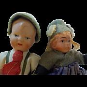"""4""""Antique All Bisque Ethnic German Girl & Boy Dolls"""