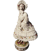 Antique Volkstedt Lace Dressed Porcelain Figurine in a Bonnet (Rudolstadt, Thuringia, Germany, released before 1945)