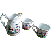 Antique German MiniatureTableware (two cups and a jug)