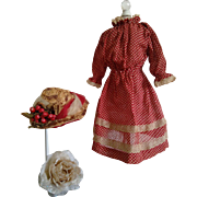 Antique Red Polka Dot Dress with a Lovely Antique Straw Hat (Circa 1890-1900)