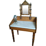 Antique French Faux Bamboo Dressing Table with a Marble Top