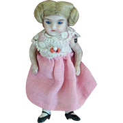Tiny German All-Bisque Doll in Factory Original Costume