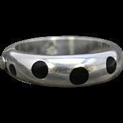 Sterling, Onyx Polka Dot Inlay Bracelet, Taxco