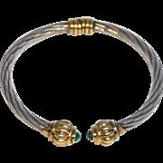 Vintage Sterling Silver, 14 Karat Gold and Emerald Cabochon Bracelet