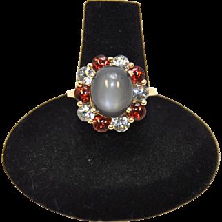 Vintage Moonstone, Aquamarine and Garnet Ring in 14K Gold