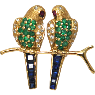 Vintage 14K Gold Lovebird Pin with Diamonds, Sapphires, Emeralds and Rubies