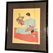 """Woodblock Print by Paul Jacoulet """"Les Marionettes Chinois"""" (Chinese Marionettes)"""