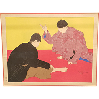"Woodblock Print by Paul Jacoulet ""Les Joueurs Chinois"" (The Chinese Gamblers)"