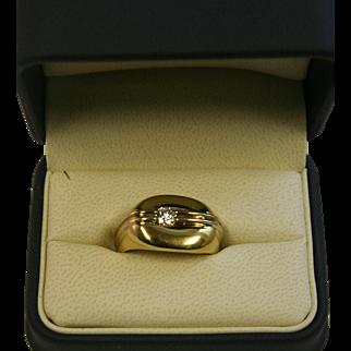 Jose Hess Designed Men's 18kt Gold/Diamond Ring, Size 11