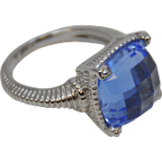 Sterling Silver and Faceted Blue Quartz Ring by Judith Ripka