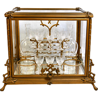 Victorian Era Tantalus/Casket with Original Decanters and Liqueur/Cordial Glasses