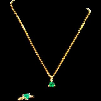 Emerald Pendant and Ring Set 10 Karat Gold