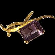 18 Karat Yellow Gold signed H. Stern Large Emerald Cut Amethyst Pin