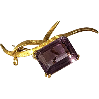 18 Karat Yellow Gold signed H. Stern Large Emerald Cut Amethyst Pin
