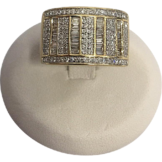 "14 Karat Yellow Gold ""Mikimoto"" 1 1/4 Carat Total Weight Diamond Ring"