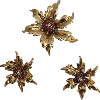 "14 Karat Yellow Gold Ruby & Diamond Flower ""Tiffany and Co."" Pin and Earring Set"