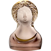 "Daum Nancy Frosted Art Glass Bust By Pierre Roulot ""Madonna"""