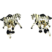 Pair Of Lunch At The Ritz Enamel Couture Pierced Zebra Earrings