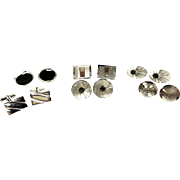 Lot Of 6 Pairs Of Vintage Sterling Silver Cufflinks