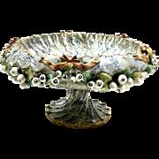 Antique STELLMACHER Amphora Teplitz Pottery Open Work Pottery Pedestal Bowl