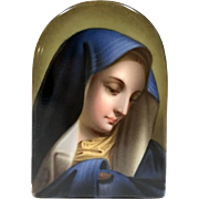 Antique Hand Painted Virgin Mary Porcelain Plaque