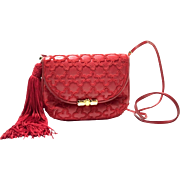 Judith Leiber Red Gold Tone Leather Quilted Crossbody Handbag