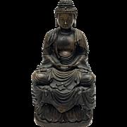 Antique 19th C Bronze Sitting Buddha Sculpture