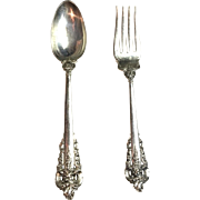 Wallace Grande Baroque Sterling Silver Set Of Serving Spoon & Fork