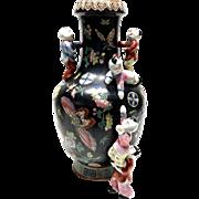 Chinese Porcelain Tongzhi Mark Climbing Playing Boys Vase Famille Noire