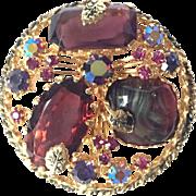 Vintage KRAMER Multicolored Art Glass Pin/Brooch