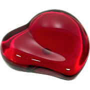 Tiffany Co. Elsa Peretti Ruby Red Heart Crystal Red Glass Paperweight Signed