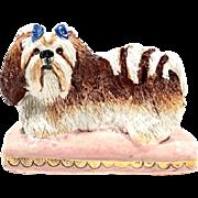 "Basil Matthews Signed British Art Pottery ""SHIH TZU"" Dog Figurine"