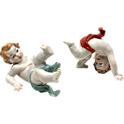 2 Vintage Capodimonte Tumbling Playing Hand Painted Porcelain Figures