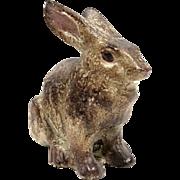 Ornate Cast Iron Cold Painted Sitting Rabbit Figure