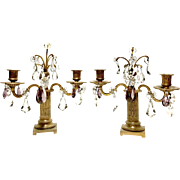 Pair of Antique Ornate French Bronze 2 Arm Candleholders With Crystal Prisms