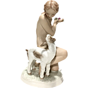 Antique Hutschenreuther Selb Kunstabteilung Nude With Lamb Porcelain Figure