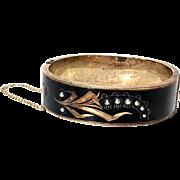 Antique Victorian Seed Pearl 14KT Gold Mourning Bracelet