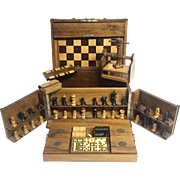 Antique RARE Chess, Checkers and Dominos Game Box