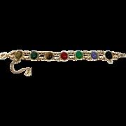 Vintage 1/20 12k GF Colorful Scarab Double Link Bracelet